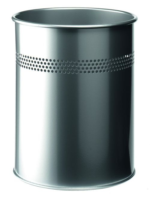 Image for Durable Waste Bin Metal Round Perf 15L 30mm Silver 330023
