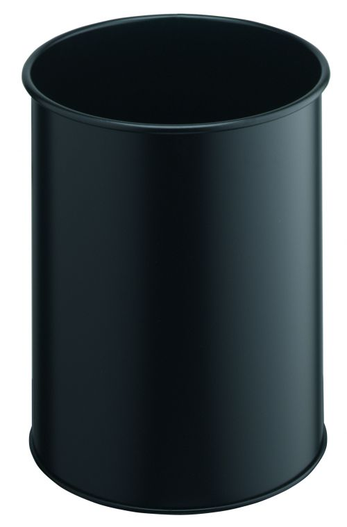 Durable Bin Round Metal 15 Litre Capacity 260x315mm Black Ref 3301/01