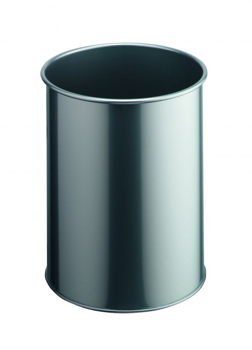 Durable Bin Round Metal 15 Litre Capacity 260x315mm Silver Ref 3301/23