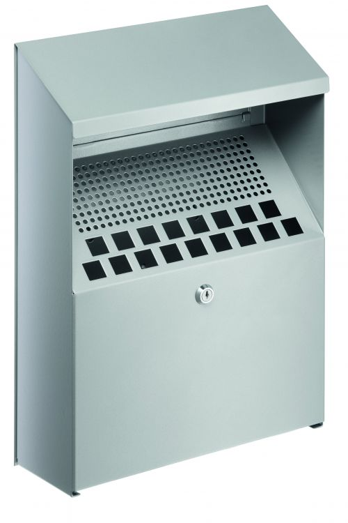 Durable Ash Bin Wall-mounted Capacity of 4 Litres 310x107x450mm Silver Ref 3334/23