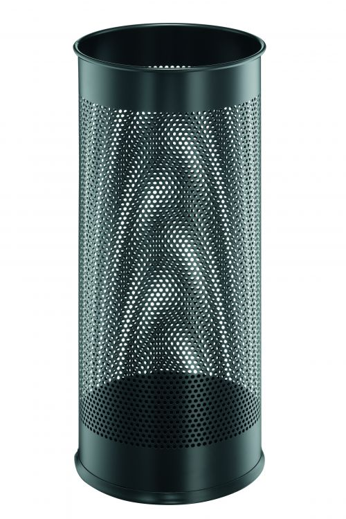 Durable Umbrella Stand Tubular Steel Perforated 28.5 Litre Capacity 280x635mm Black Ref 3350/01