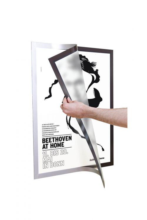 DURAFRAME Self Adhesive Poster A2 Silver  Pk1