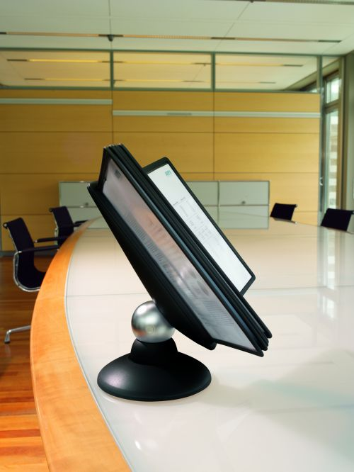 Durable Sherpa Motion 10 Display Unit Rotating with 10 Panels 10 Tabs A4 Black Ref 5587/01