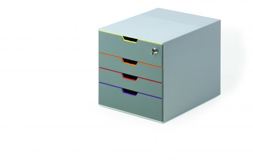 Durable Varicolor Safe 4 Drawer Box with Lockable Top Drawer Grey Ref 760627