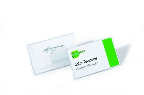 Durable Name Badge with Pin 40x75mm 8008 (PK100)
