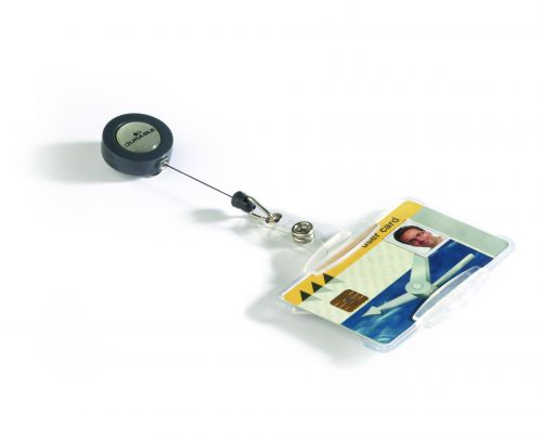 DURABLE Security Pass Holder 54x85mm With Badge Reel Transparent