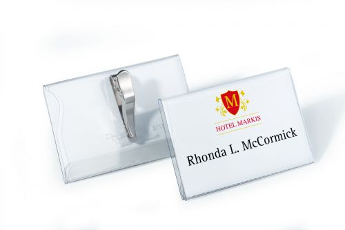 Durable Name Badges with Crocodile Clip 54x90mm Ref 8111 [Pack 25]