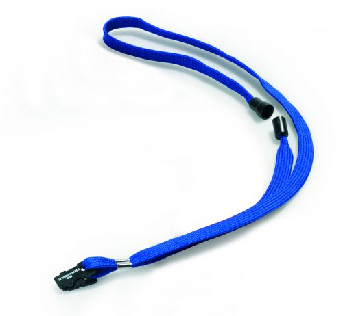 Durable Textile Name Badge Lanyards 10x440mm with Safety Closure Dark Blue Ref 811907 [Pack 10]