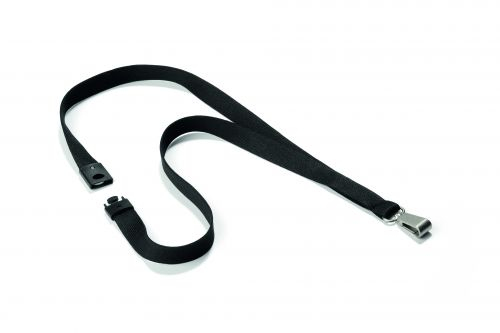 Durable Textile Lanyard Soft 15mm Black (Pack 10)