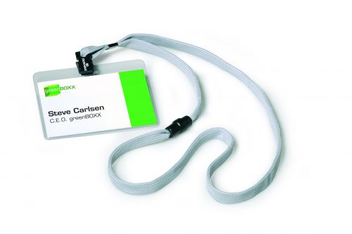 Durable Visitor Name Badges with Textile Lanyard with Safety Closure 440mm Grey Ref 8139-10 [Pack 10]