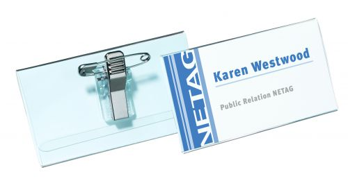 Durable Name Badge with Combi-Clip 40x75mm 8141 (PK50)