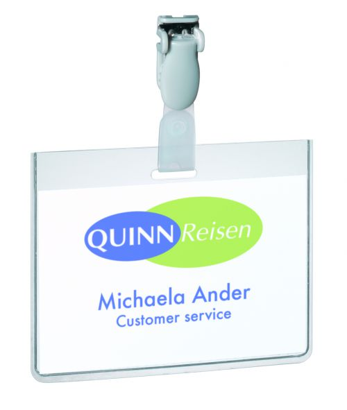 Durable Visitor Badge with Clip 60x90mm Clear (Pack of 25) 8143/19