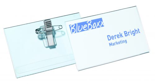Durable Combi Clip Badge 54x90mm Transparent (Pack of 50) 8145/19