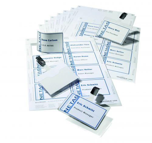 Durable Name Badge Set Visitor Assorted 20 Badges 60x90mm and 4 Insert Sheets Ref 8181-00