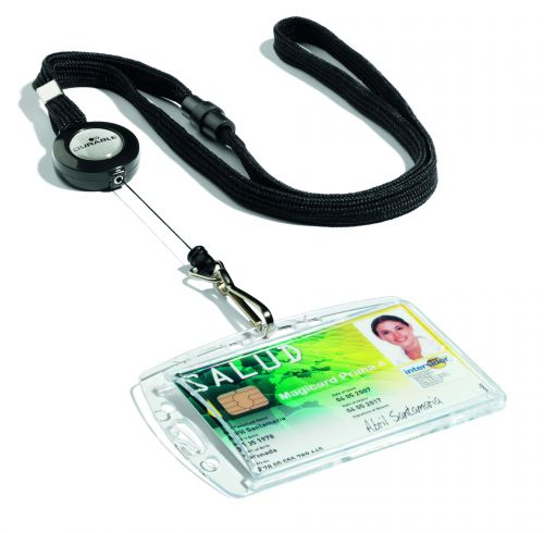 Durable Textile Lanyard with Badge Reel on 850mm retractable cord Ref 822301 [Pack 10]