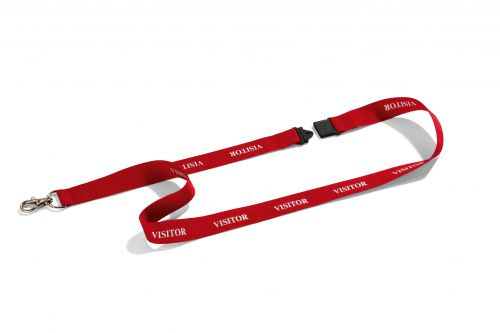 Durable Lanyard Textile Overprinted Visitor with Safety Release Mech 440mm Red Ref 823803 [Pack 10]