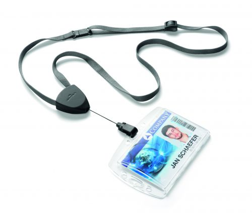 Durable Textile Lanyard Flex Adjustable from 240mm to 500mm with Badge Reel Black Ref 830901 [Pack 10]