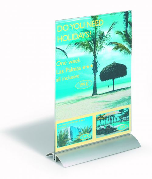 Durable Presenter Sign and Literature Holder Desktop Acrylic with Metal Base A4 Clear Ref 858919