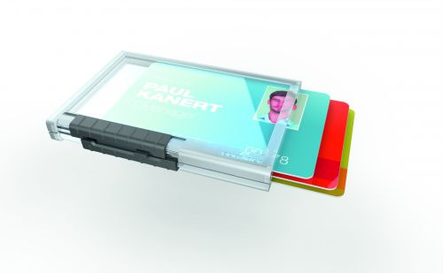 Durable Pushbox Trio Card Holder 3 Cards Internal Dimensions 54x87mm Transparent Ref 892019 [Pack 10]