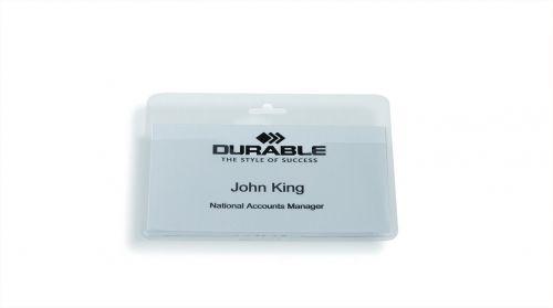 Durable Visitor Badge No Clip Pk50