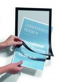 Durable Duraframe Magnetic Display Frame Self Adhesive A4 Black (Pack 2) 487201