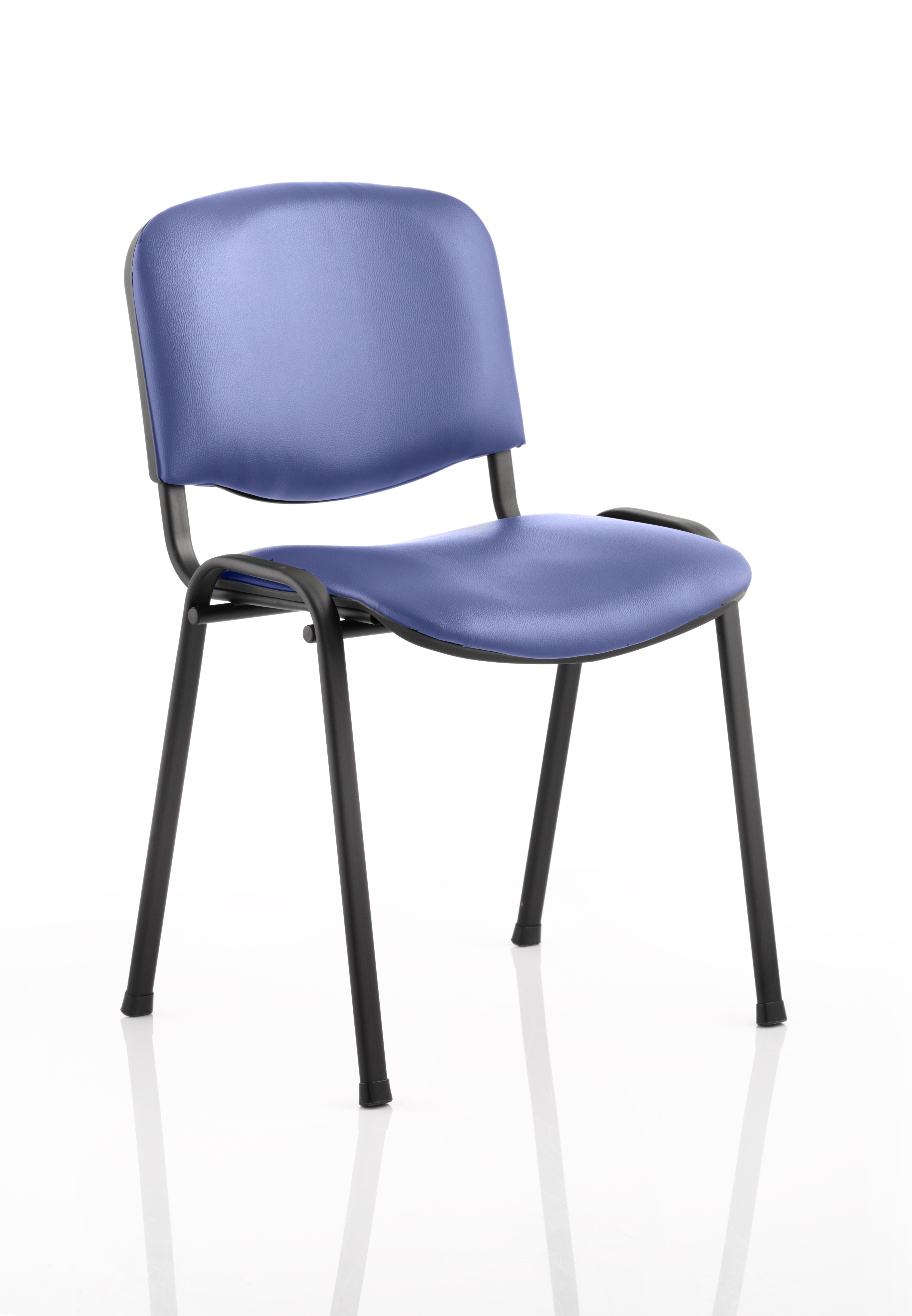 Stacking Chairs ISO Stacking Chair Blue Vinyl Black Frame BR000063