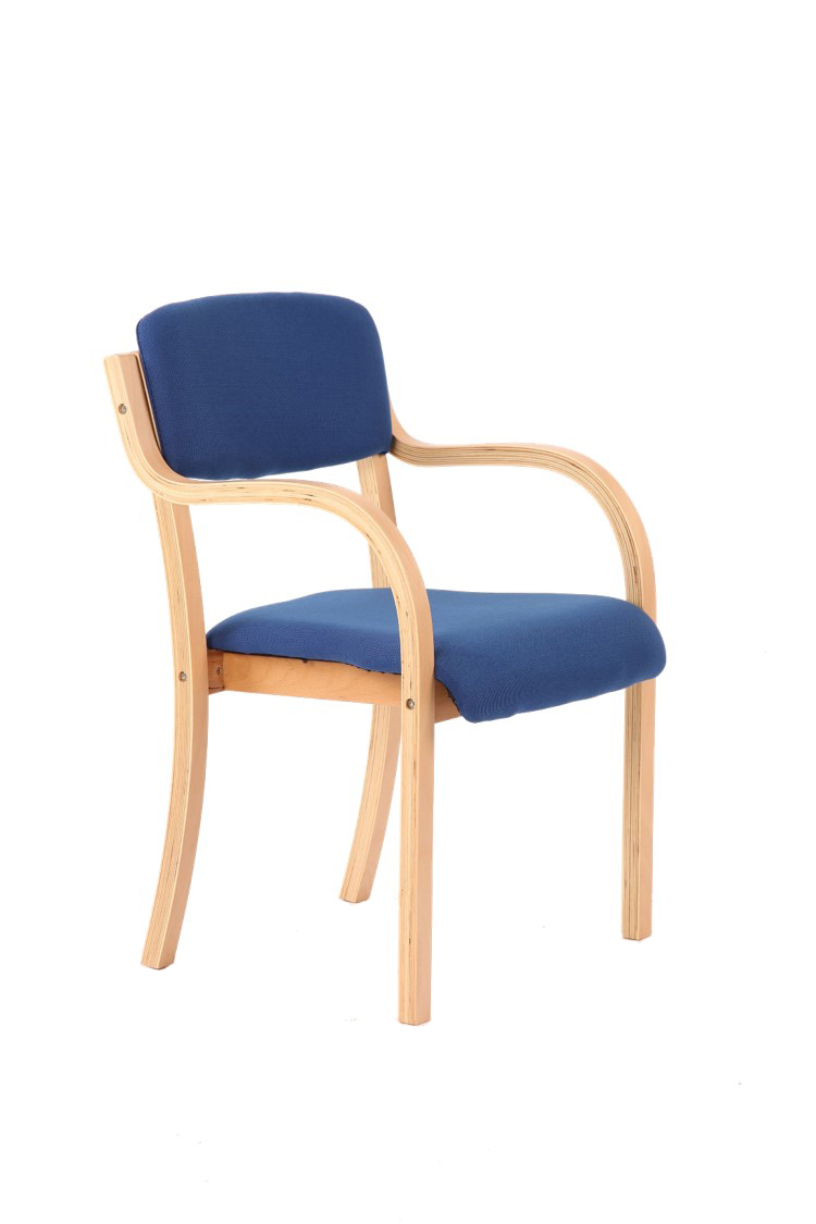 Stacking Chairs Madrid Visitor Chair Blue With Arms BR000085