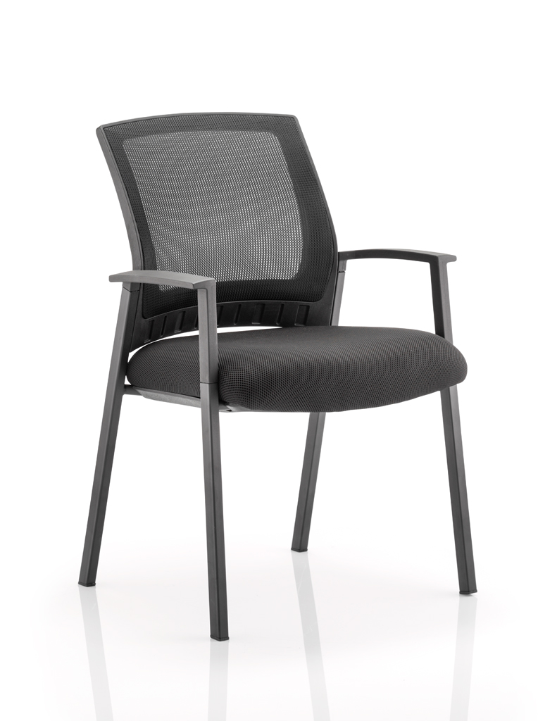 Reception Chairs Metro Visitor Chair Black Fabric Black Mesh Back BR000090