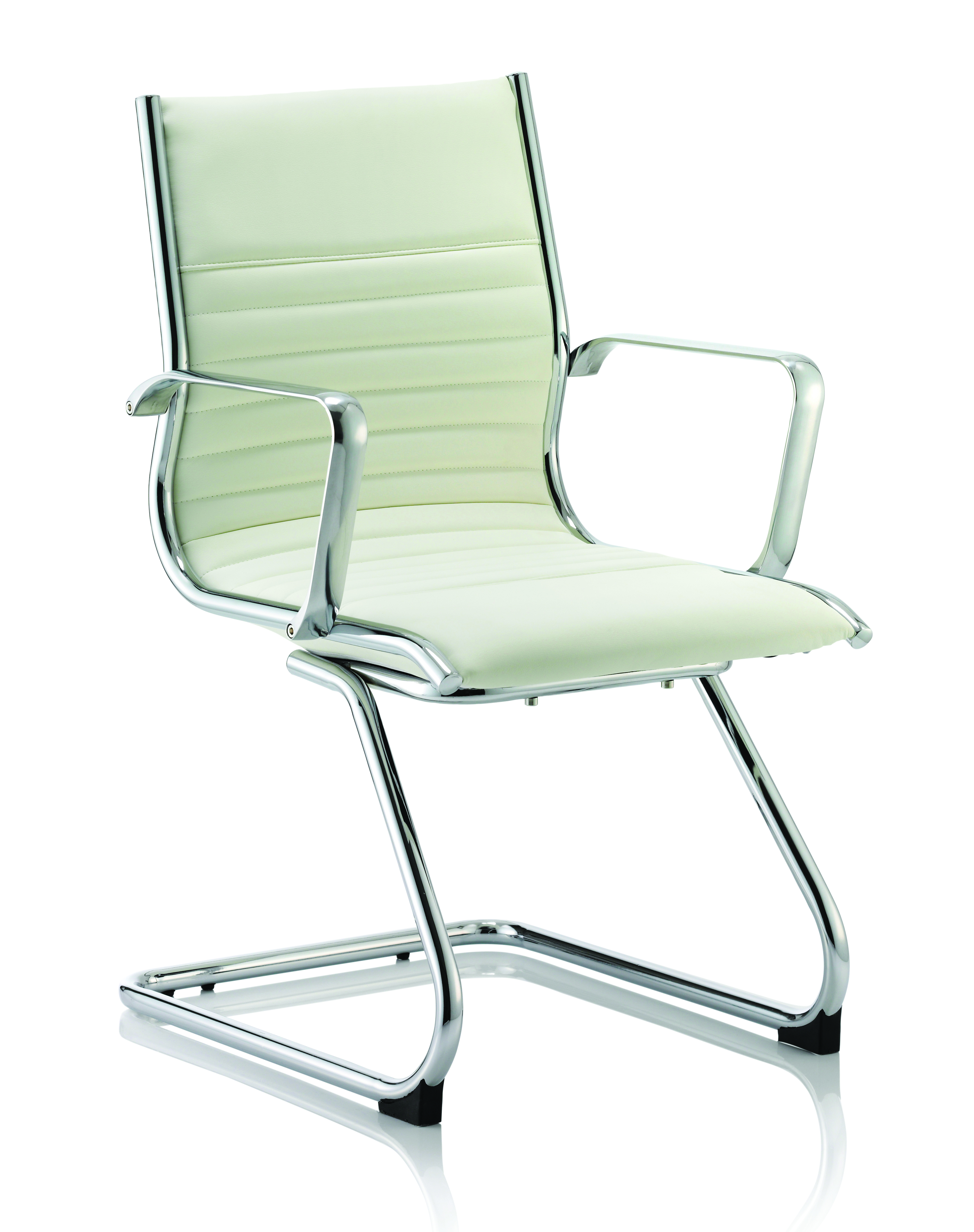 Reception Chairs Ritz Cantilever Chair Ivory Soft Bonded Leather BR000124