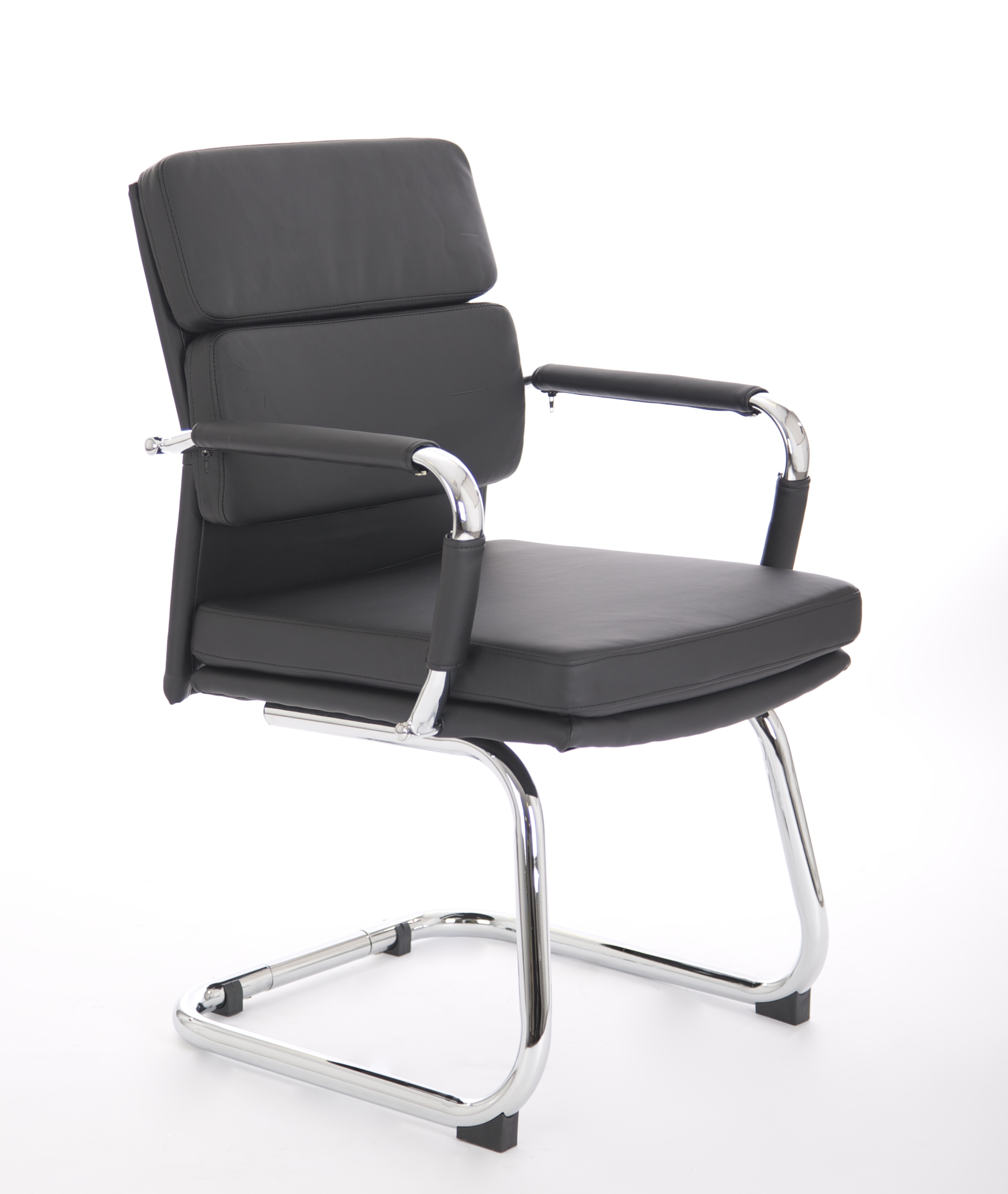 Reception Chairs Advocate Visitor Chair Black Soft Bonded Leather With Arms BR000206