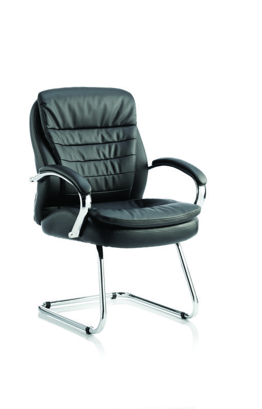 Rocky Cantilever Chair Black Leather High Back With Arms EX000062