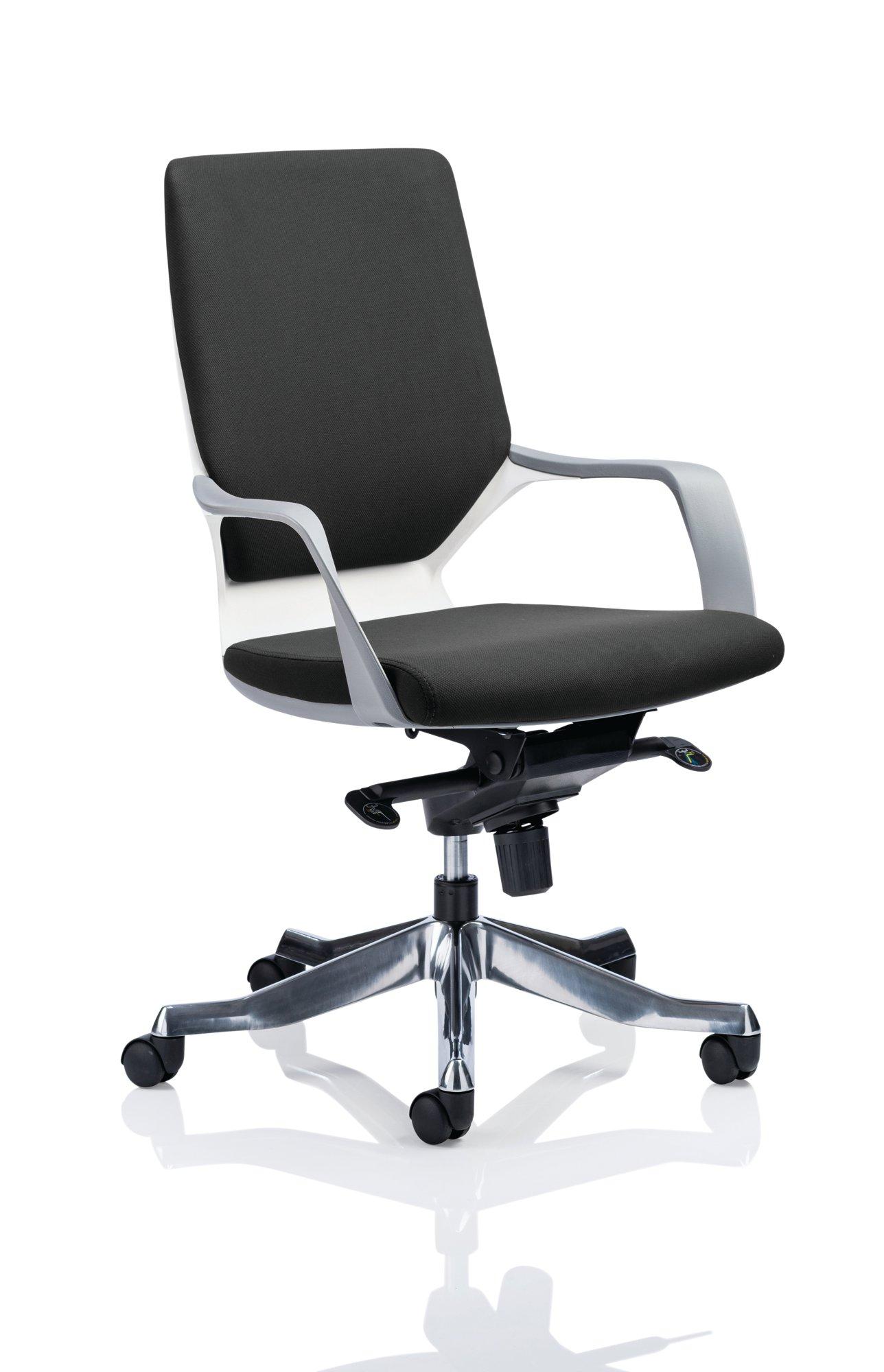 Executive Chairs Xenon White Shell Medium Back Black Fabric EX000094