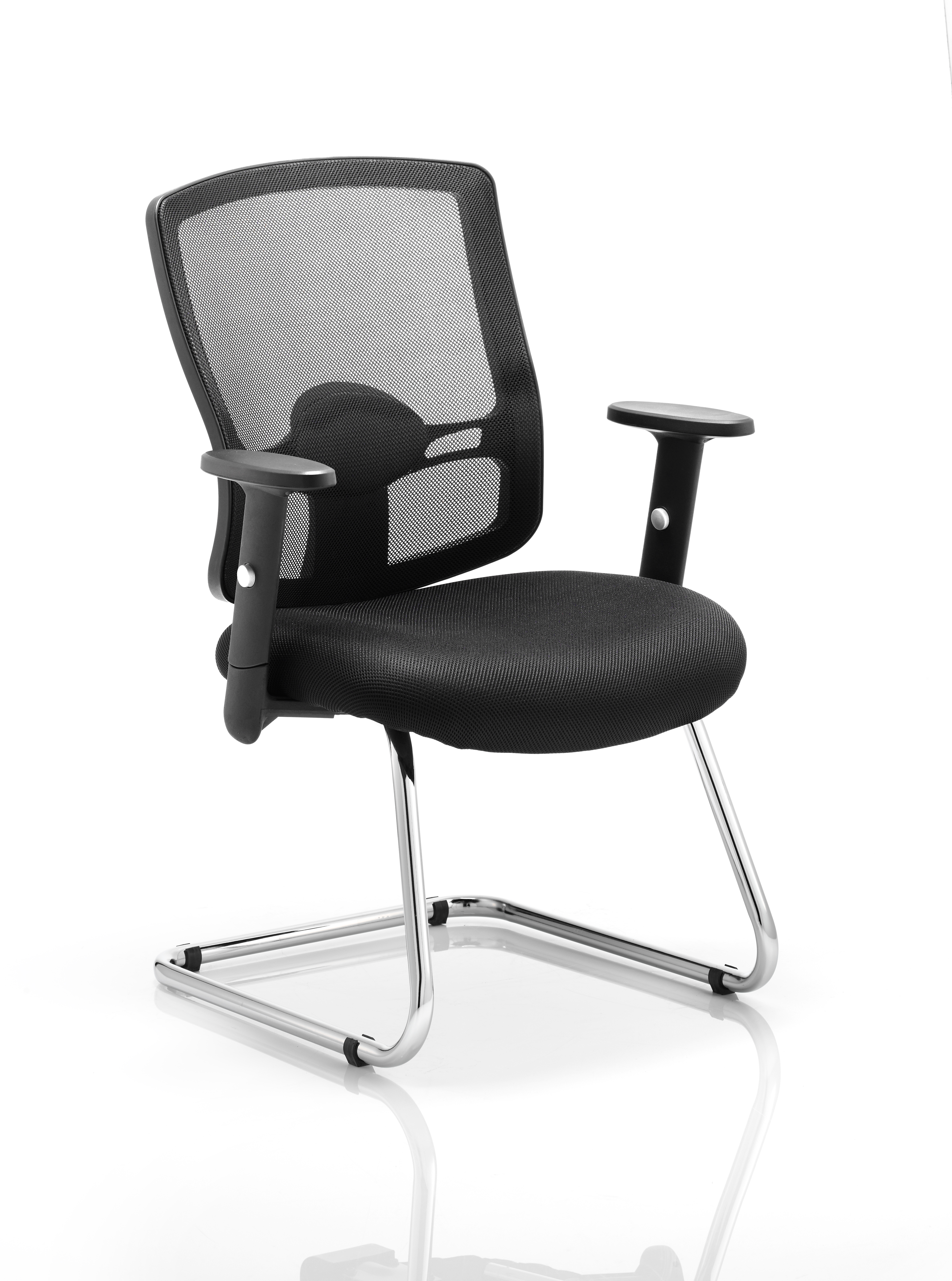 Reception Chairs Portland Cantilever Chair Black Mesh With Arms EX000136