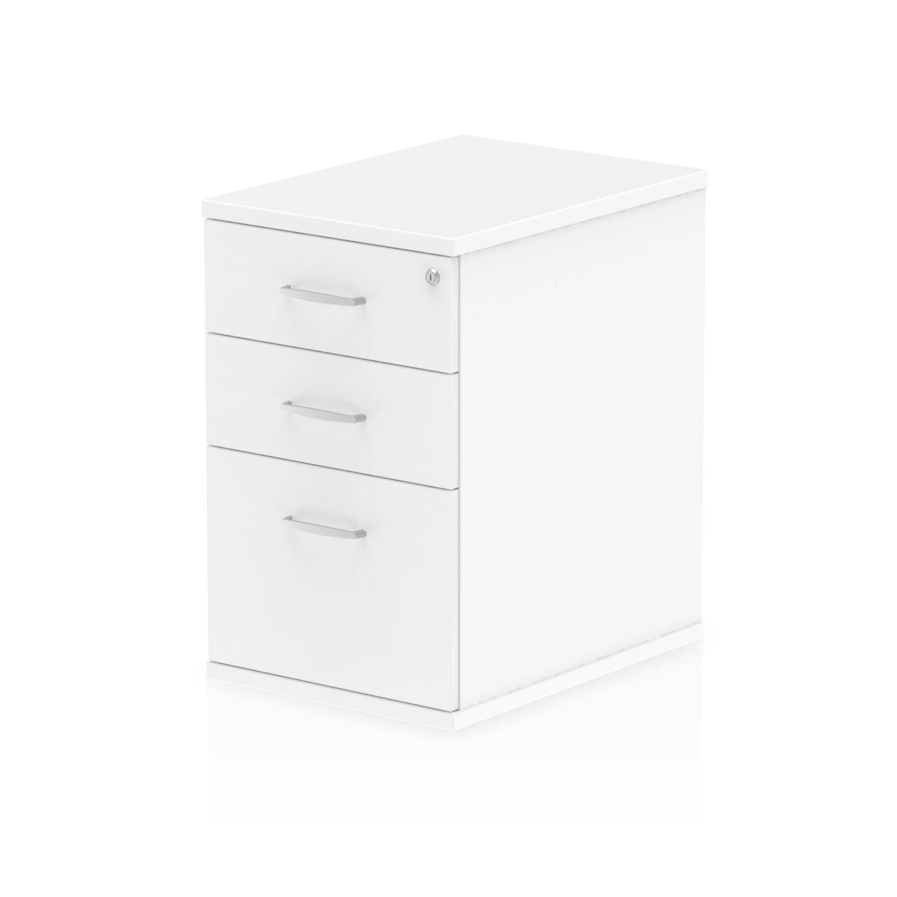 Impulse 600 Desk High Pedestal 3 Drawer White