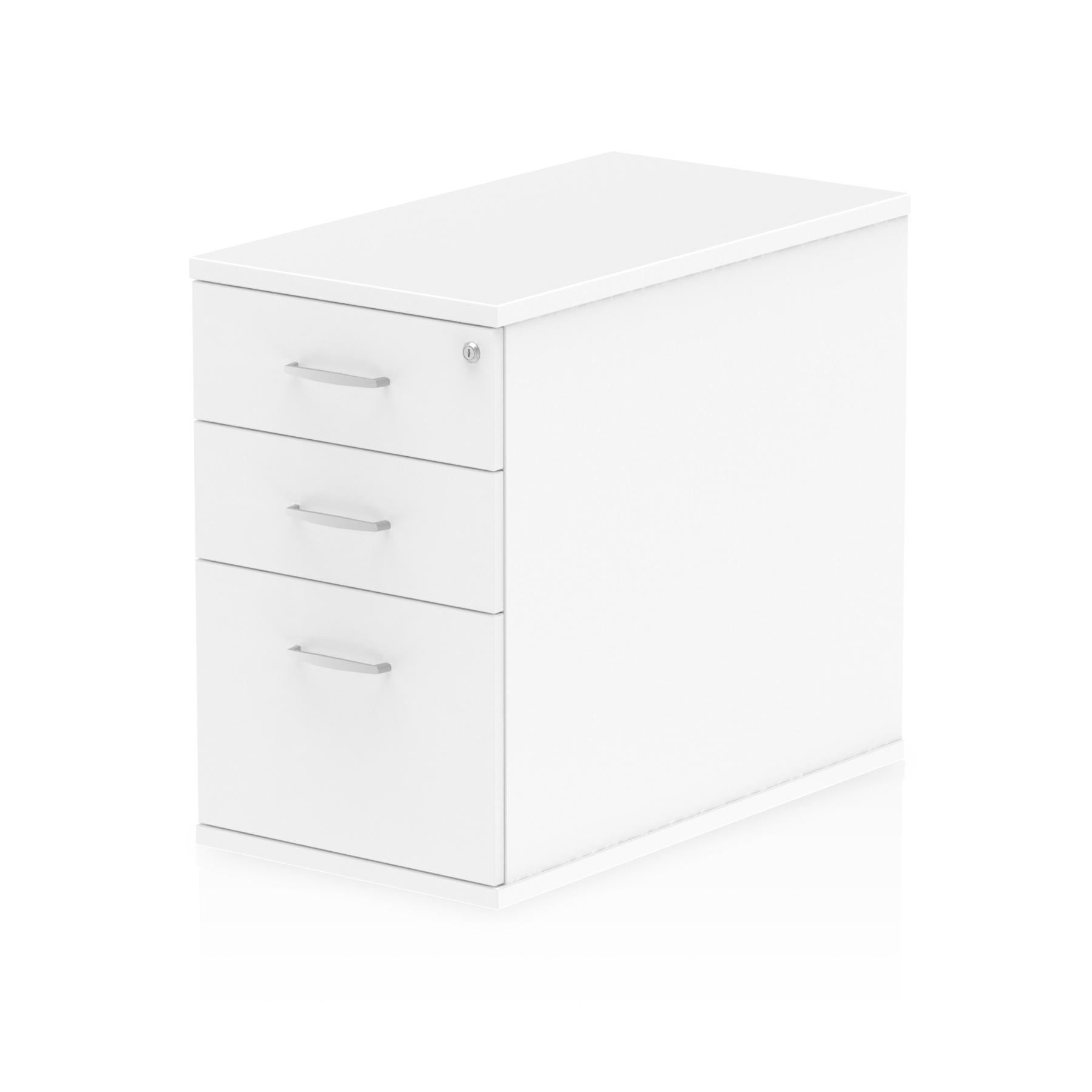 3 Drawer Impulse 800mm Deep 3 Drawer Desk High Pedestal White I000191
