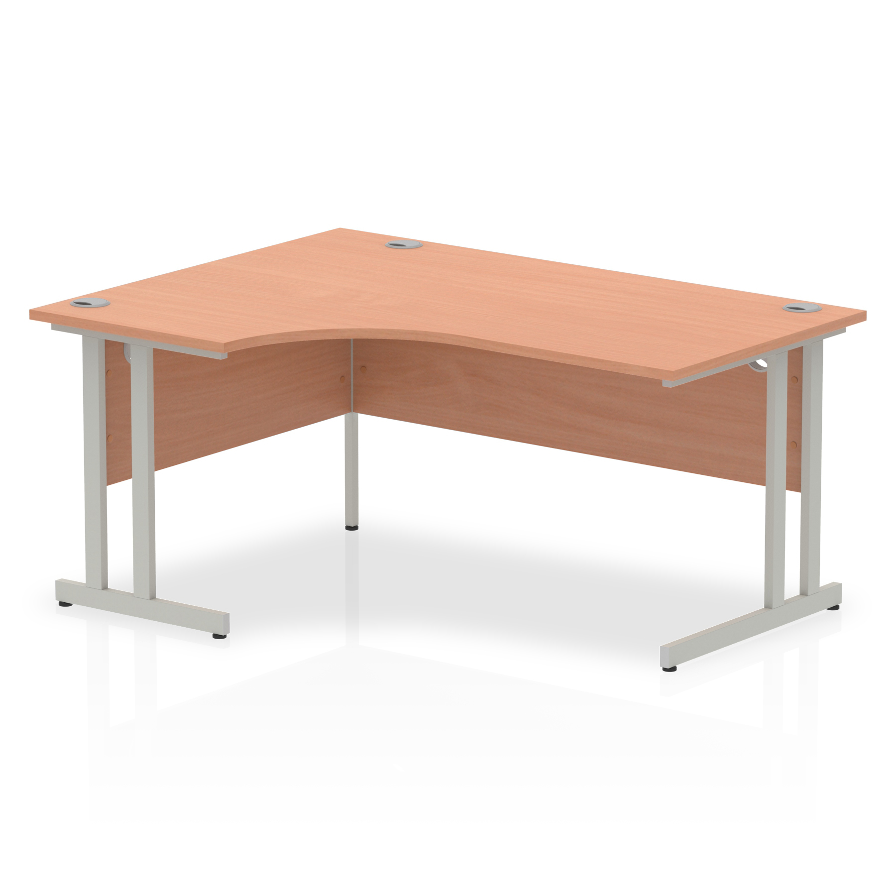 Impulse Cantilever 1600 Left Hand Crescent Desk Beech