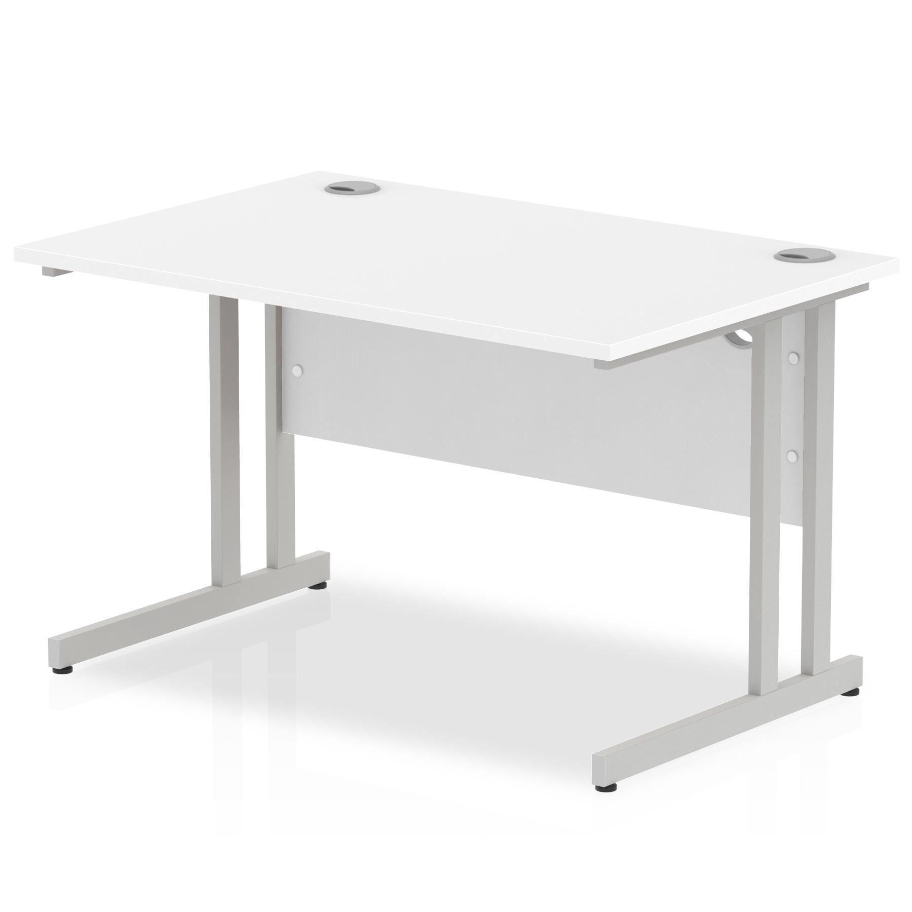 Rectangular Desks Impulse 1200 x 800mm Straight Desk White Top Silver Cantilever Leg I000305