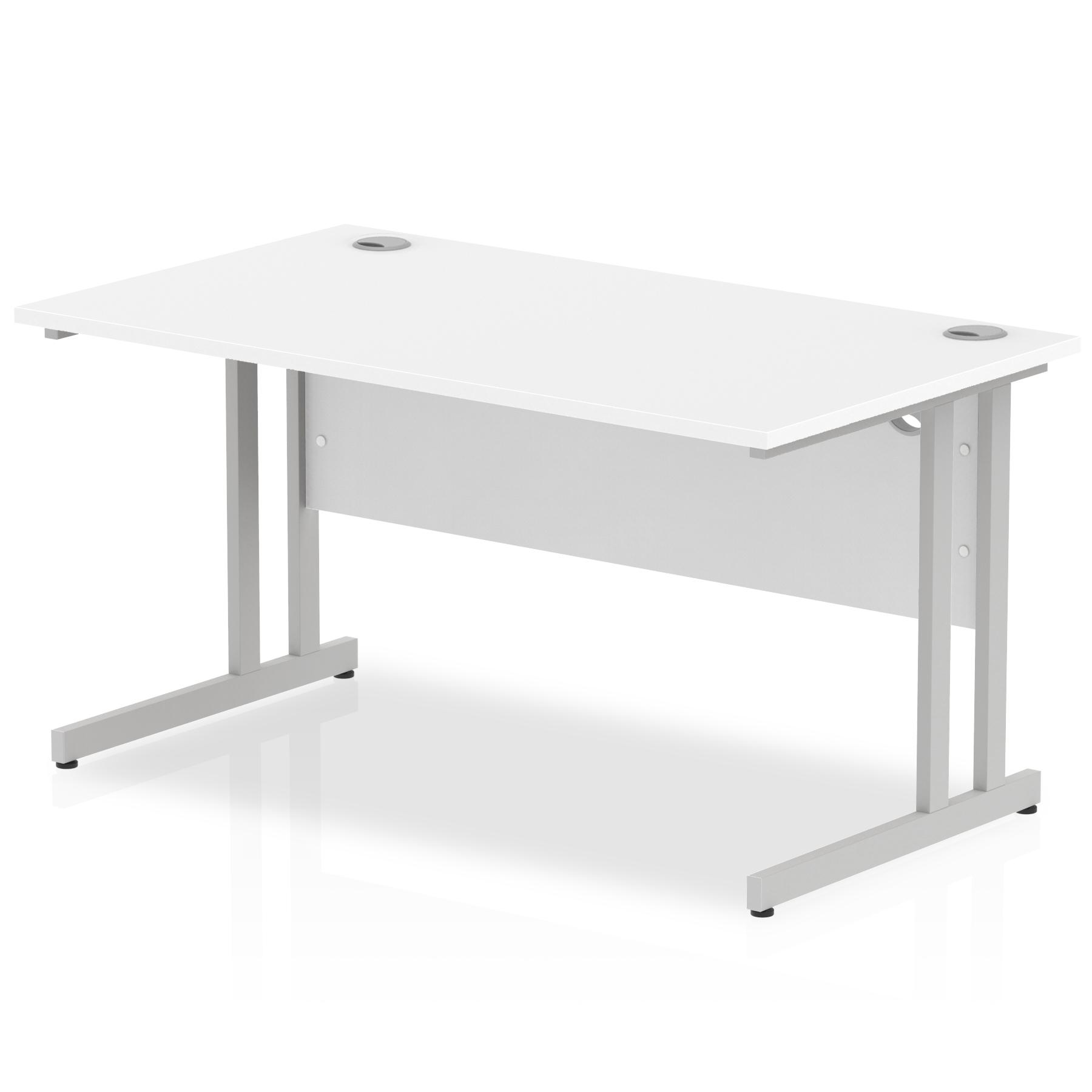 Rectangular Desks Impulse 1400 x 800mm Straight Desk White Top Silver Cantilever Leg I000306