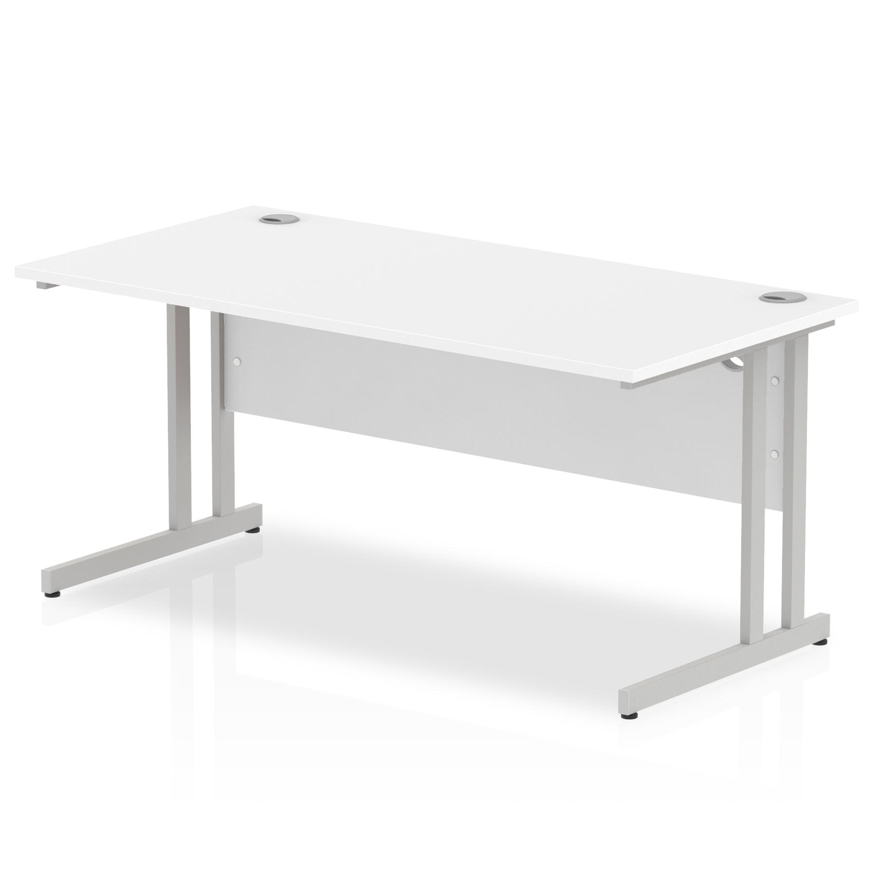 Rectangular Desks Impulse 1600 x 800mm Straight Desk White Top Silver Cantilever Leg I000307