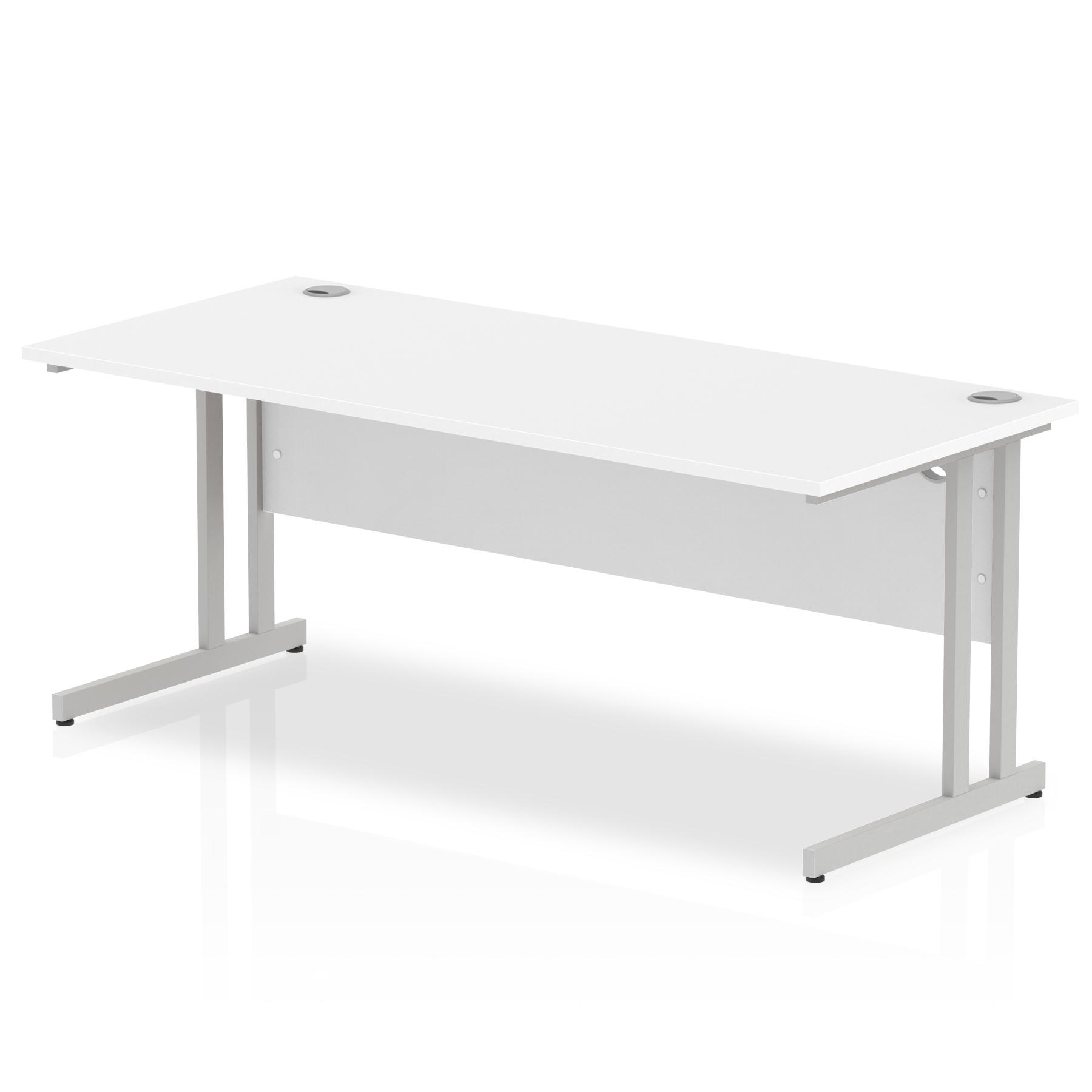Rectangular Desks Impulse 1800 x 800mm Straight Desk White Top Silver Cantilever Leg I000308