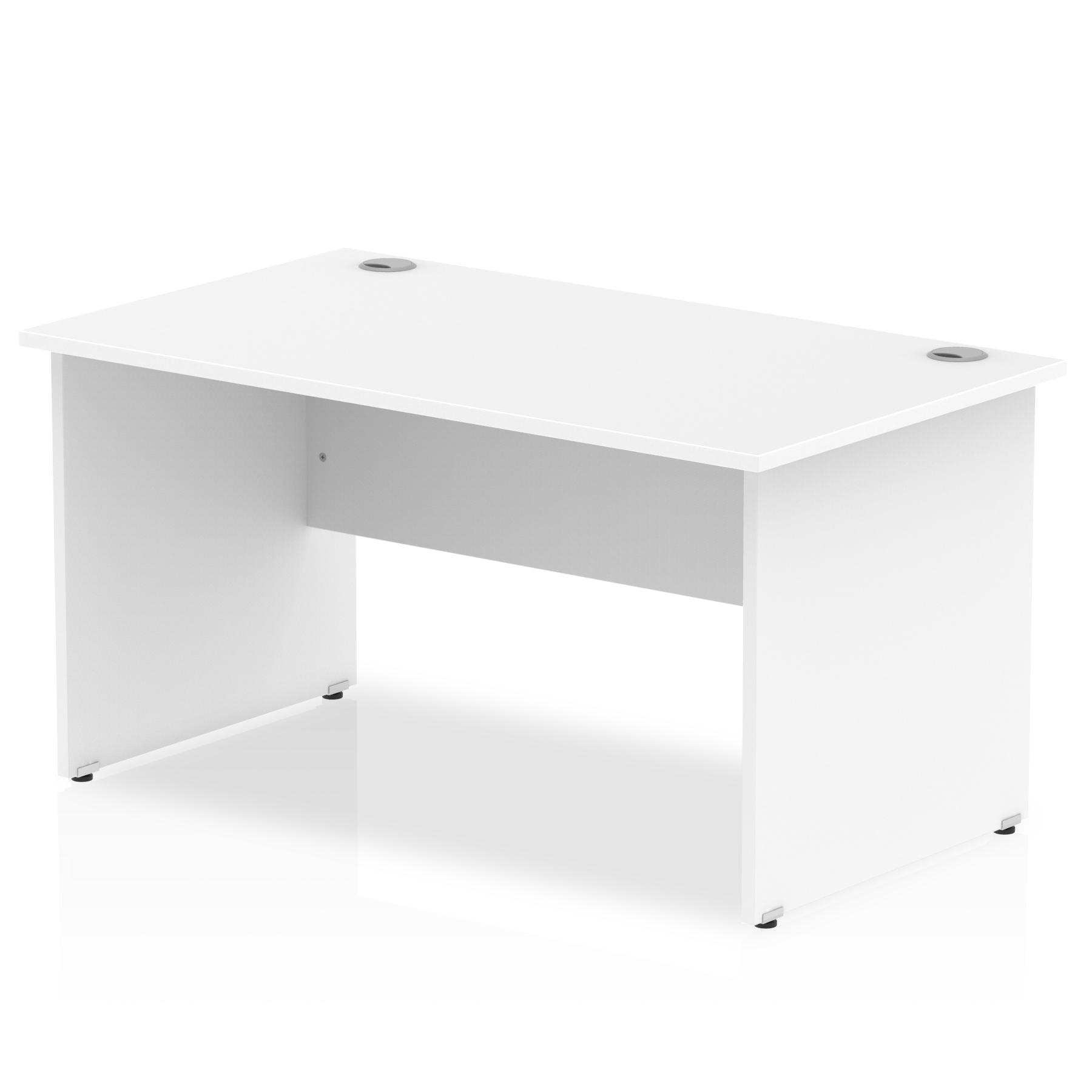 Rectangular Desks Impulse 1400 x 800mm Straight Desk White Top Panel End Leg I000394