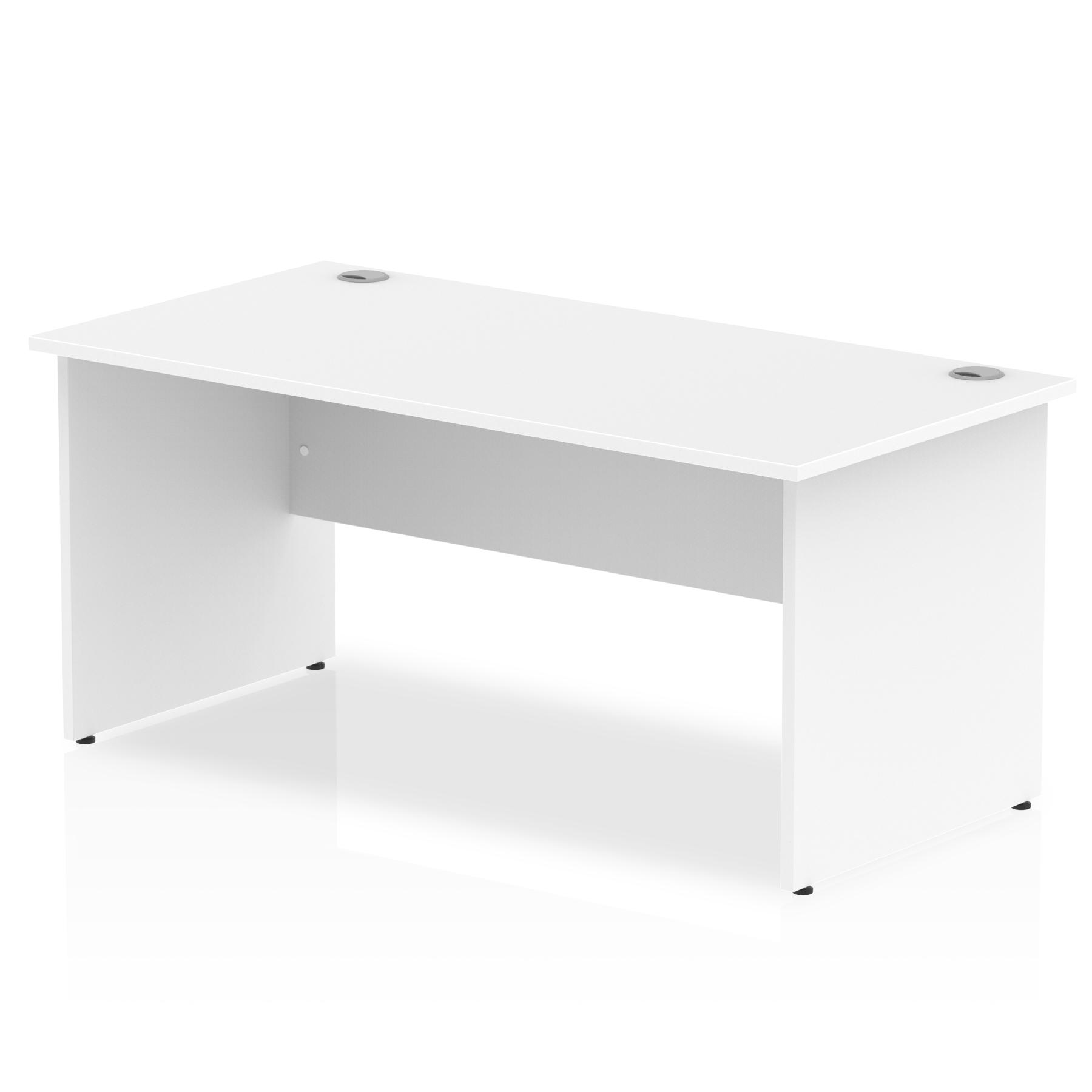 Rectangular Desks Impulse 1600 x 800mm Straight Desk White Top Panel End Leg I000395