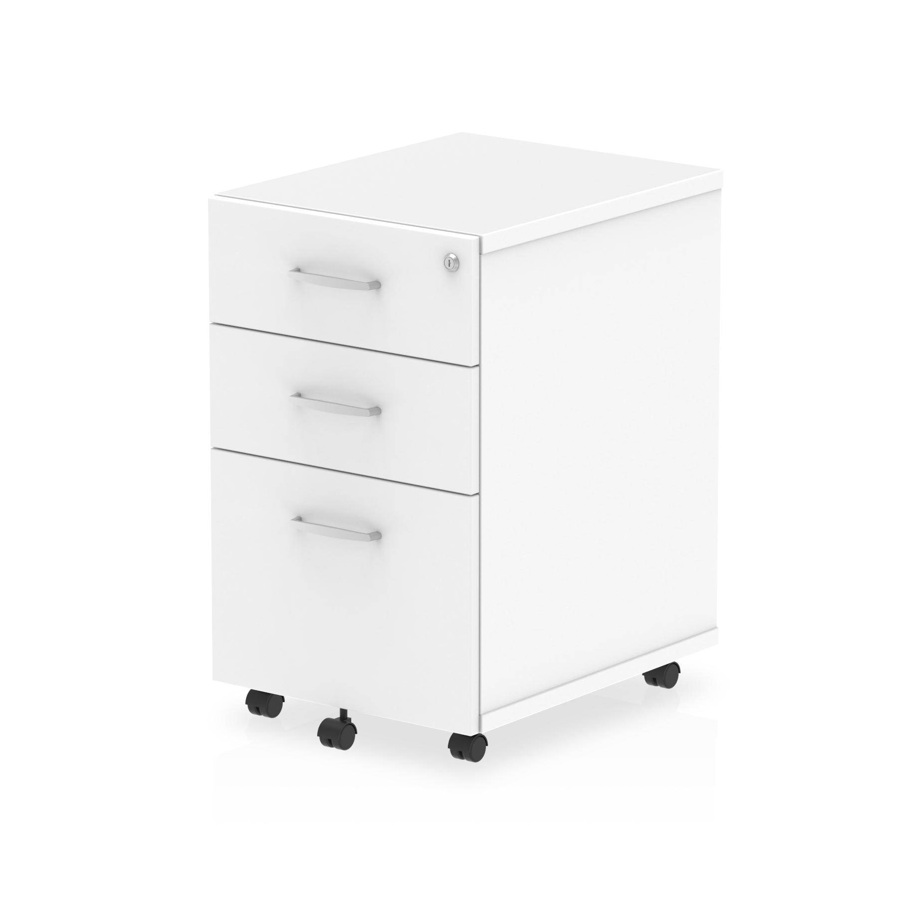 3 Drawer Impulse 3 Drawer Under Desk Pedestal White I001654