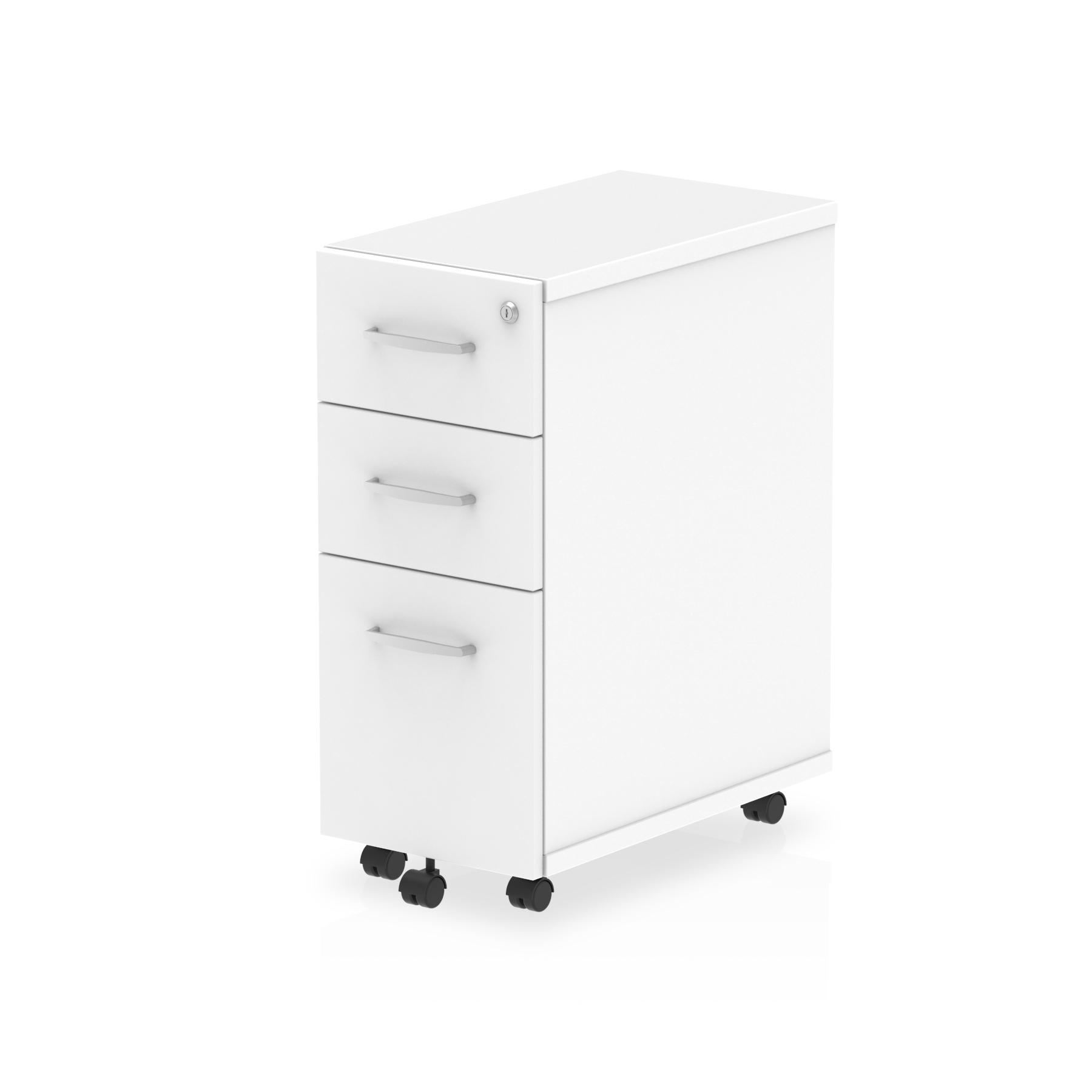 3 Drawer Impulse 3 Drawer Narrow Under Desk Pedestal White I001655