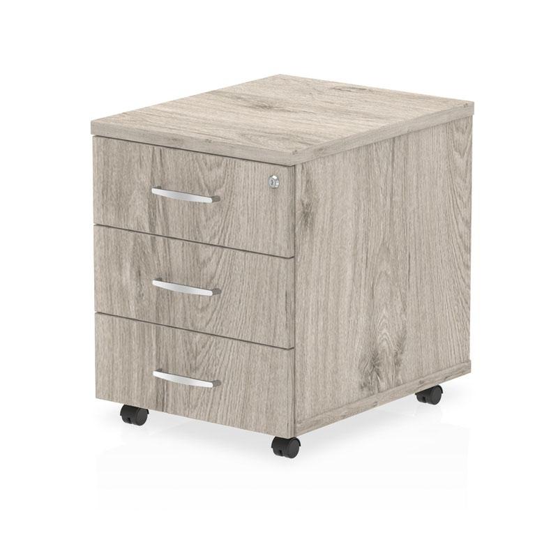 3 Drawer Impulse 3 Drawer Mobile Pedestal Grey Oak I003224