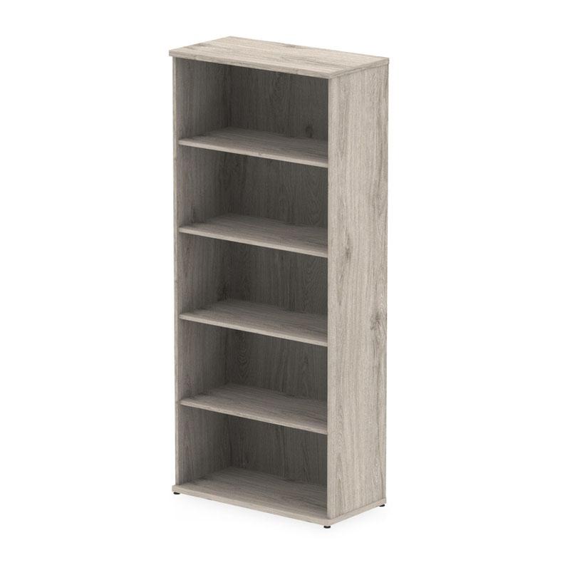 Over 1200mm High Impulse 2000mm Bookcase Grey Oak I003230