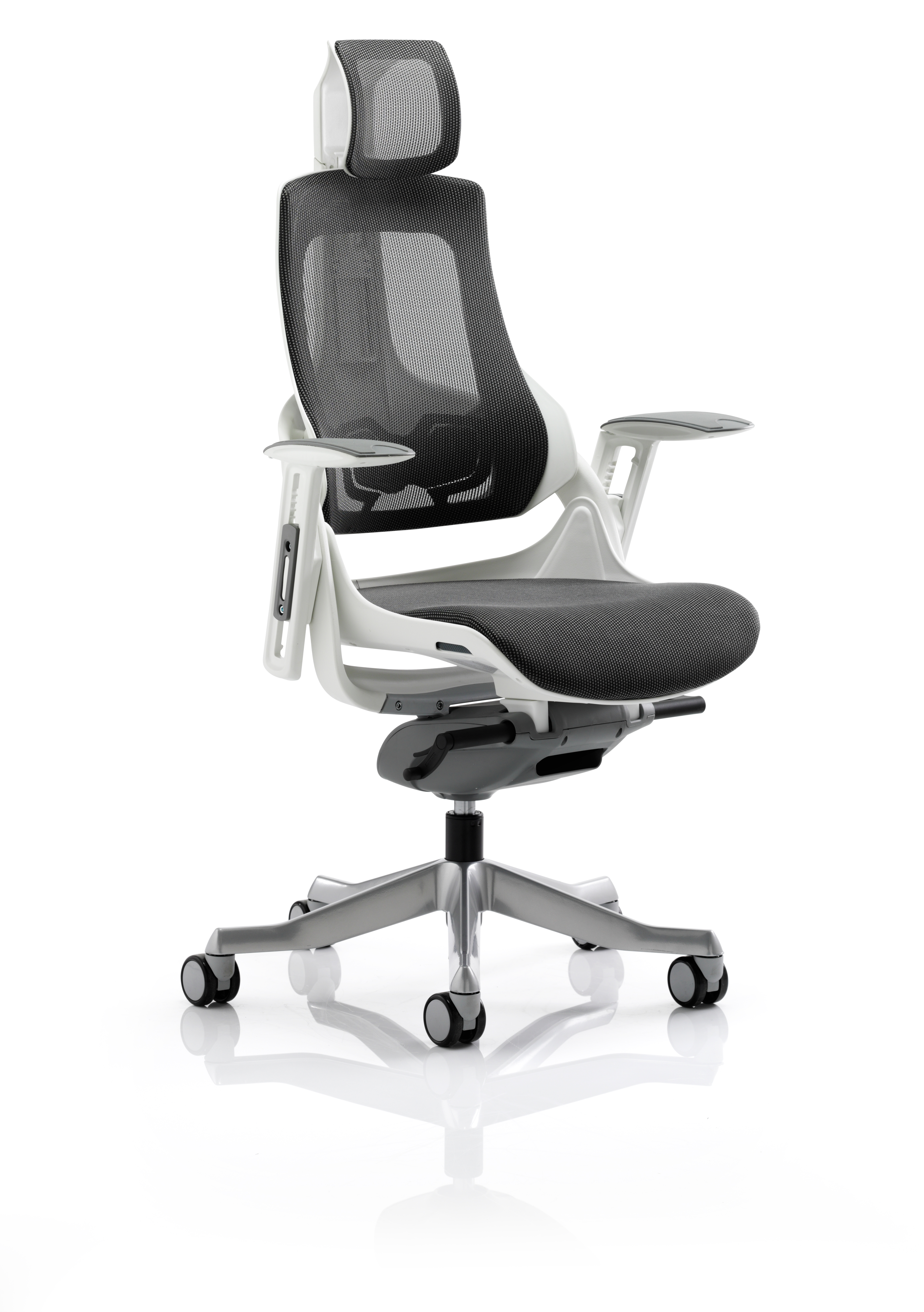 Executive Chairs Zure Charcoal Mesh With Arms With Headrest KC0162