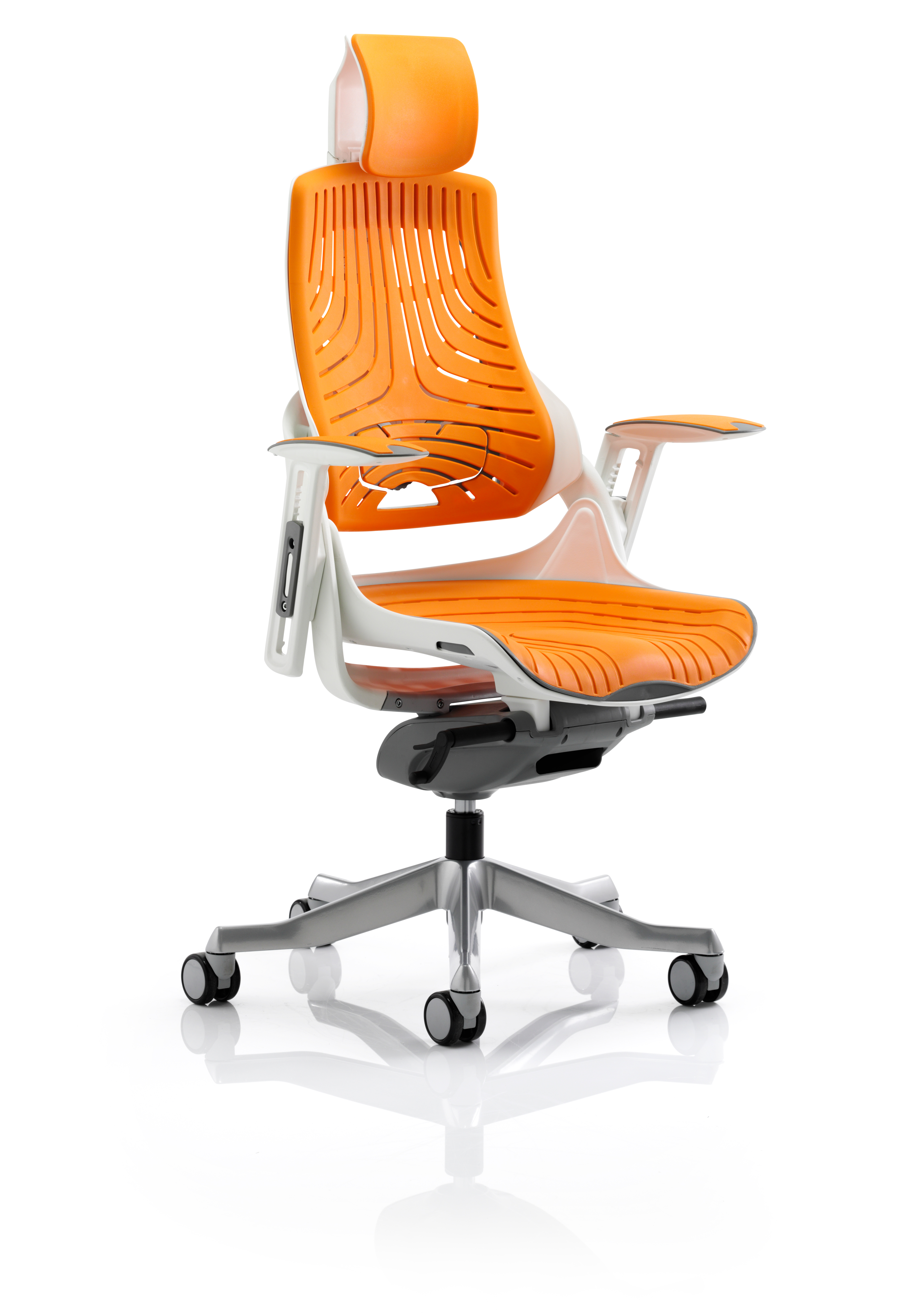 Executive Chairs Zure Elastomer Gel Orange With Arms With Headrest KC0165