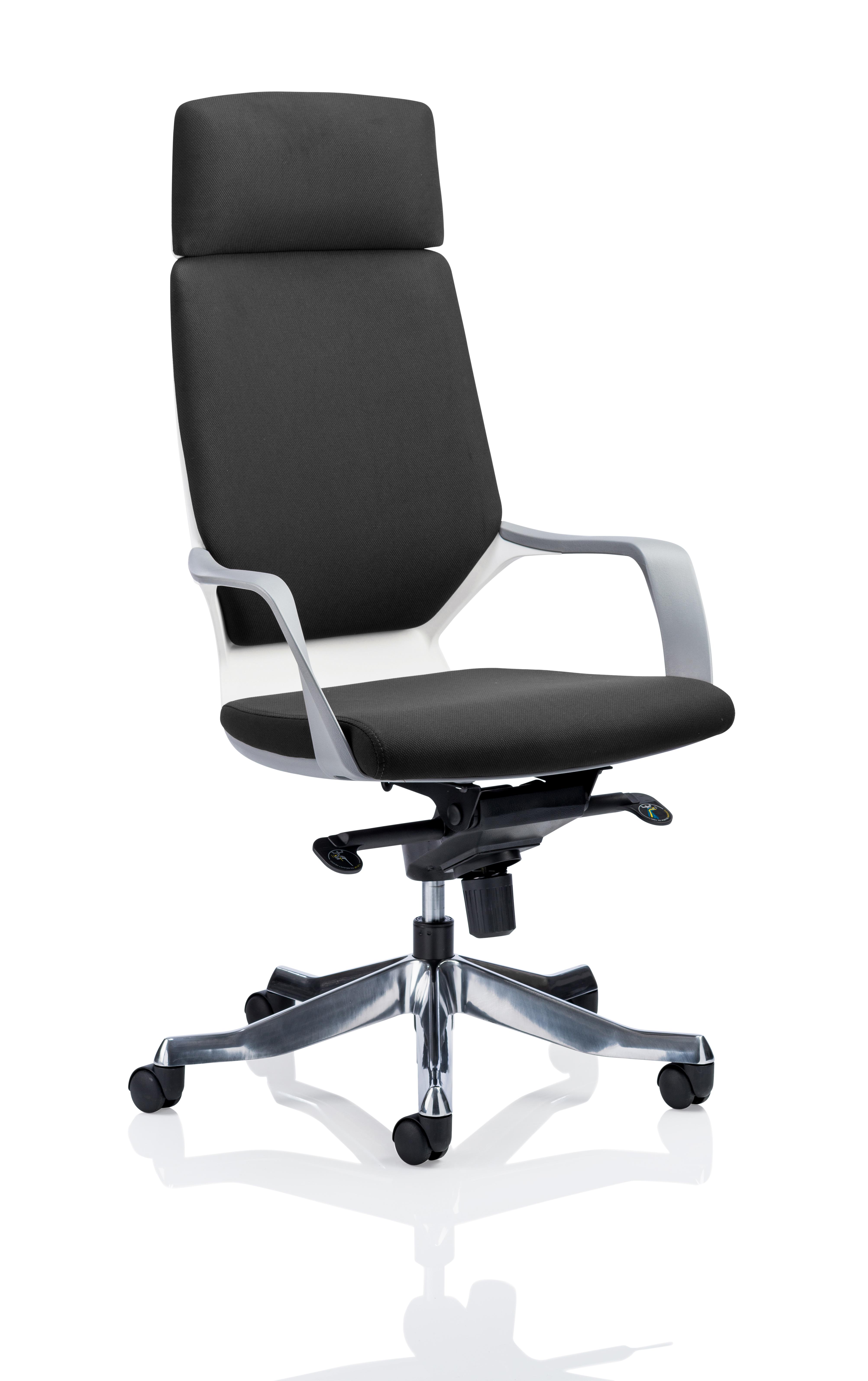 Executive Chairs Xenon White Shell High Back Black Fabric KC0226
