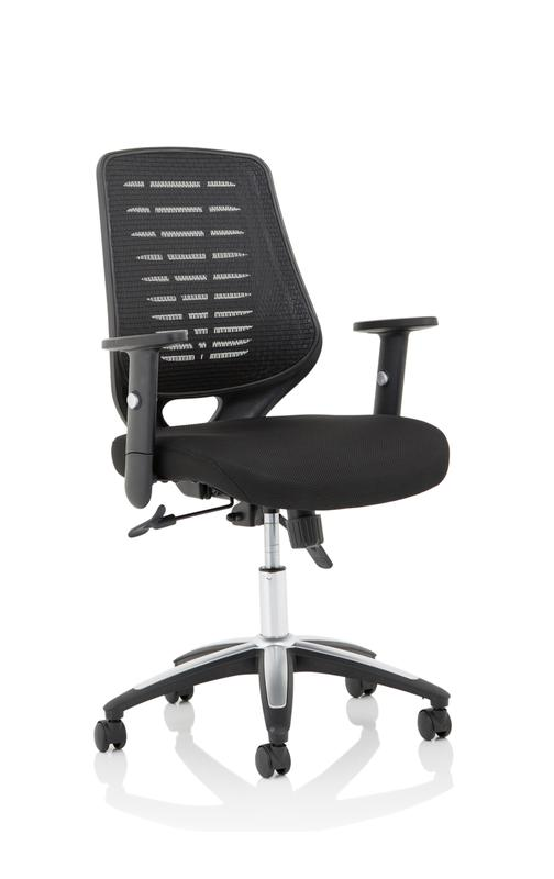 Relay Task Operator Chair Airmesh Seat Black Back With Height Adjustable Arms KC0285
